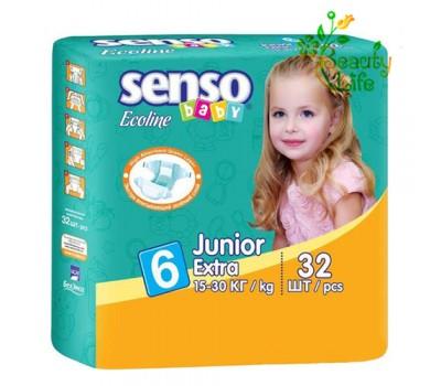 Подгузник «SENSO baby Ecoline» JUNIOR Extra (6)  15-30 кг 32 шт